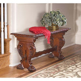 Antiqued Royal Luxury European Decorative Hand Carved Solid Hard Wood Bench