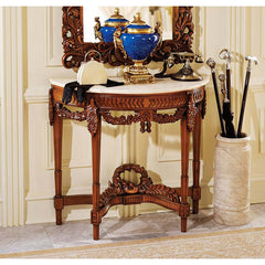 Handcarved Solid Hardwood Marble Topped French Antique Replica Chateau Table