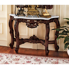 Antique Replica Baroque Marble-Topped Console Hall Foyer Table