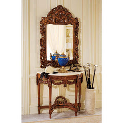 Decorative Chateau Gallet Marble Topped Hardwood Table with Mirror