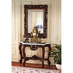 "45"" Royal Baroque Mirror and Marble-Topped Console Table (XoticBrands)"