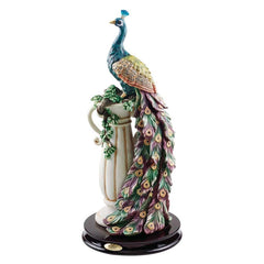 "17"" Colorful Plumage Peacock Home Garden Sculpture Statue Figurine"