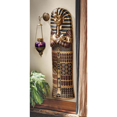 "47"" Classic Egyptian Mummy Statue King Tut Sarcophagus Wall Sculpture Figurine"