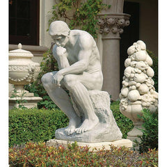 "25"" Grande Nude Male Thinker Home Garden Museum Statue"