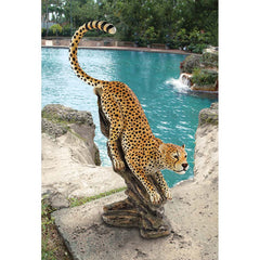 "48""H Classic Wildlife Savannah Cheetah Statue Sculpture Figurine"