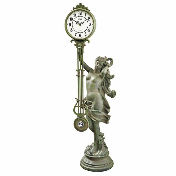 VERDIGRIS GODDESS OF TIME CLOCK