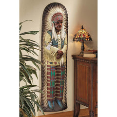 "47"" American Indian Chief Wall Sculpture Statue Decor"