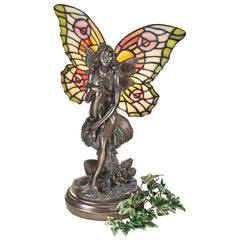 "15"" Fairy Sculpture Tiffany Style Stained Glass Illuminated Table Lamp"