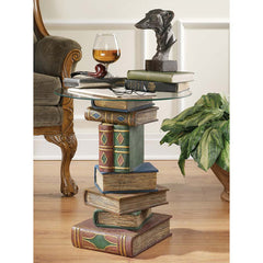 "20.5"" Home Library Books Decorative Glass-Topped Occasional Side Table"