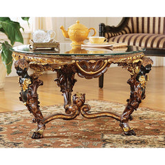 Classic Gilded Gold French Glass Topped Luxurious Cocktail Coffee Table with ...