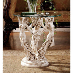Greek Goddesses Glass-Topped Sculpture Statue Occasional Table