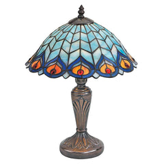 Hand-finished French Tiffany-style Peacock Feathers Stained Glass Lamp