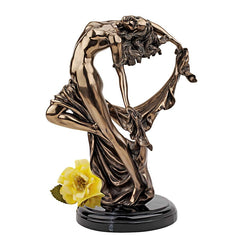 "14"" Nude Dancer Faux Bronze Female Statue Desktop Tabletop Sculpture"