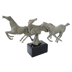 "17""w Galloping Stallion Horses Statue Sculpture Figurine"
