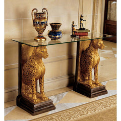 "34"" Luxury Egyptian Wildlife Cheetah Wildlife Sculptural Decorative Glass Topped Console"