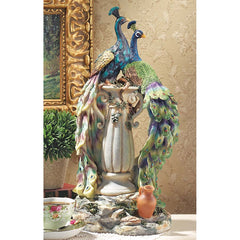 "19"" Home Gallery Peacocks Desktop Statue Sculpture Figurine"