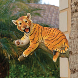 "13"" Tree Resting Tiger Cub Baby Wildlife Animal Statue Sculpture Figurine"