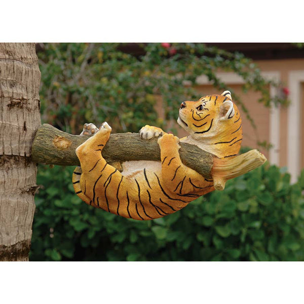 "13"" Exotic Tree Wildlife Baby Tiger Hanging Cub Statue Sculpture Figurine"