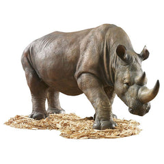 "34""w South African Wildlife Safari Rhino Home Garden Sculpture Statue Figurine"