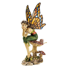 "13"" Pixie Fairy Stained Glass Sculpture Statue"