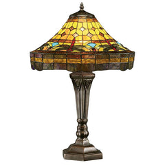 "23"" Dragonfly Tiffany-Style Stained Glass Lamp"