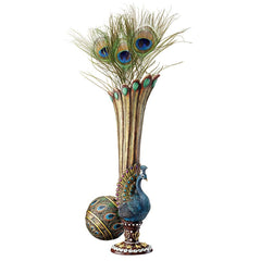Classic Peacock Bud Vase - Set of 2