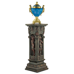 "34"" Classic French Antique Replica Bronze Pedestal Column Engraved with Nude ..."