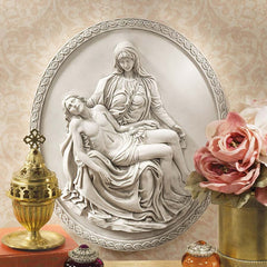 "14.5"" Italian Jesus Mary Pieta Wall Sculpture Statue Replica of Michelangelo ..."