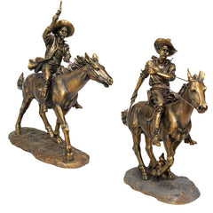"22"" Large Western Cowboy Statues Sculpture Figurine - Set of Two [Kitchen]"