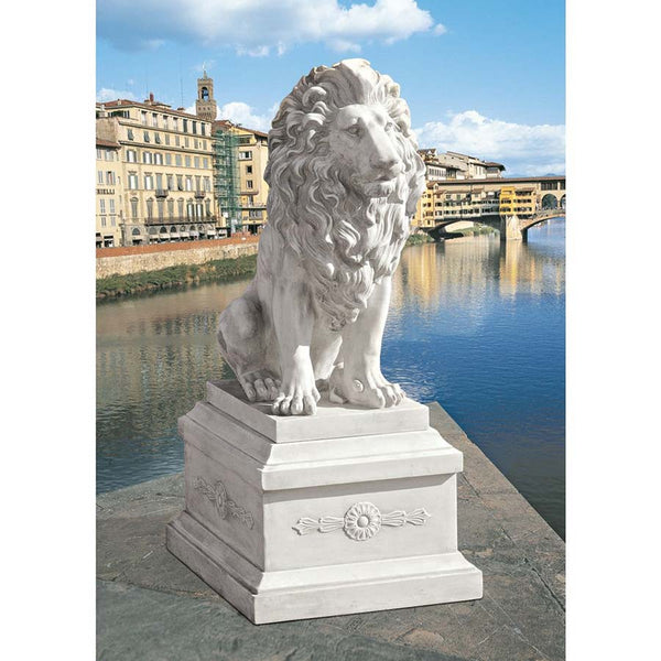 "28"" Classic Lion of Florence Sentinel Home Garden Sculpture Statue & 13"" Base"