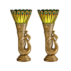 Antique Gold Finish Peacock Sculpture Statue Plumage Table Lamp Lighting - SE...