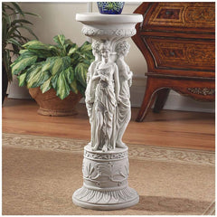 "28"" Maiden Dancers Sculpture Pedestal Flower Urn Stand"