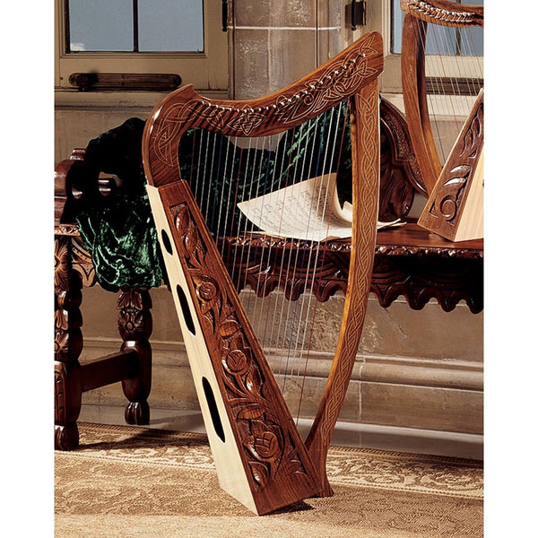 "35.5"" Celtic Rosewood Heather Harp Fully Functional Musical Instrument"