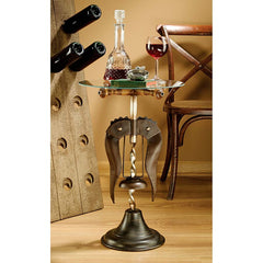 Vintage Wine Stewards Corkscrew Glass-Topped Table