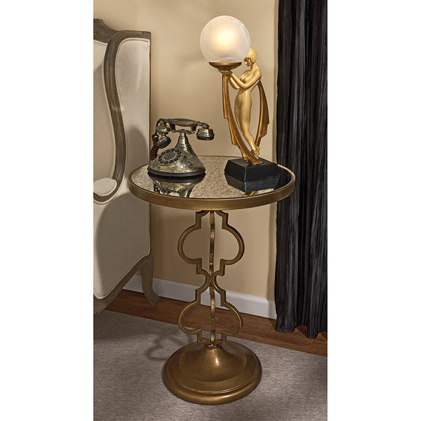 BACALL ART DECO MIRRORED ACCENT TABLE