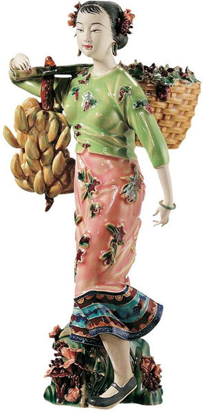 "11.5"" Asian Collectible Maiden Porcelain Sculpture Statue"