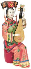Asian Chinese Ladies at their Stringed Instruments Porcelain Statue