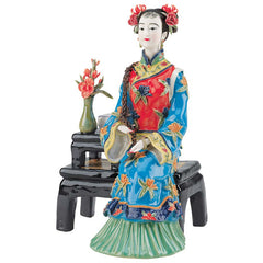 "8.5"" Asian Collectible Maiden Porcelain Sculpture Statue"