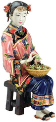 "11""Asian Collectible Woman Swing Porcelain Sculpture"