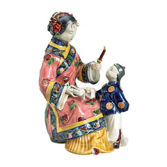 "8""Asian Collectible Woman Swing Porcelain Sculpture"