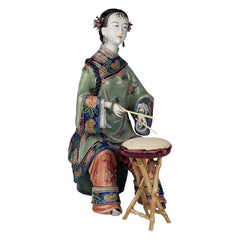 "9"" In Honor of Song Porcelain Drummer Asian Chinese Collectible Sculpture"