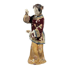 "10.5"" Wife Serving Tea Porcelain Sculpture Asian Chinese Collectible Sculpture"