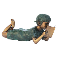 BOOKWORM GIRL READER BRONZE STATUE