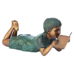BOOKWORM BOY READER BRONZE STATUE