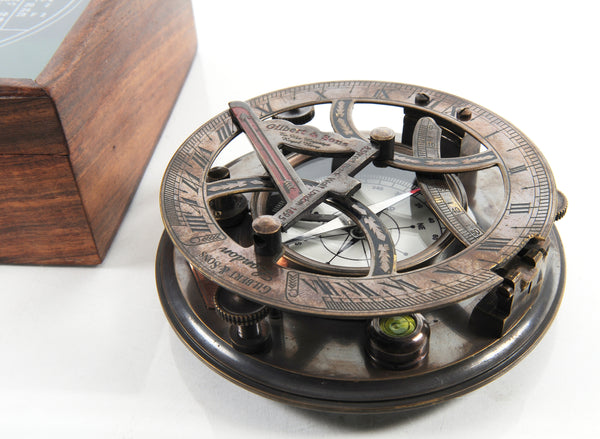 XoticBrands Decor Sundial Compass in wood box (Large) Model Display
