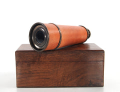 XoticBrands Decor Handheld Telescope in wood box Model Display