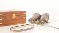 XoticBrands Decor Binocular w leather overlay in wood box Model Display