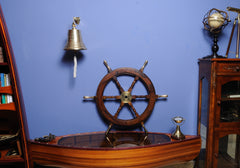 XoticBrands Decor Ship Wheel-30 inches Model Display