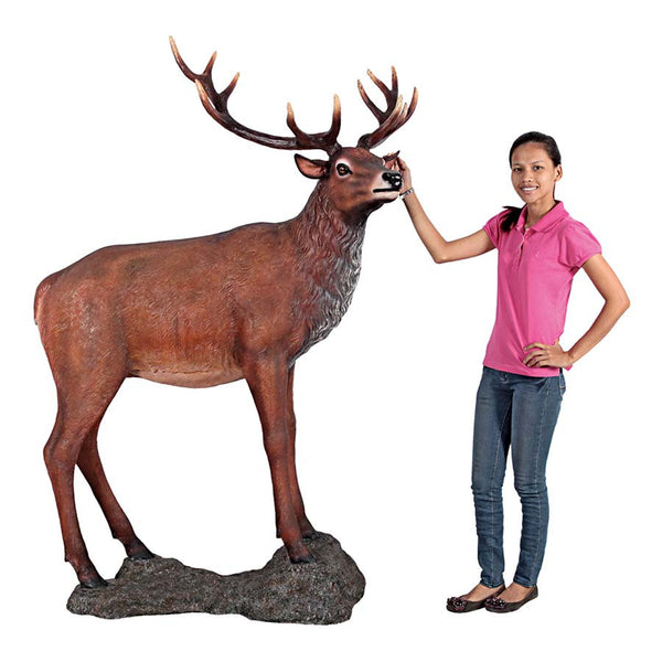 RED DEER BUCK STATUE WITH BASE