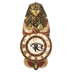 "40"" Classic Egyptian King Tut Sculpture Decorative Wall Clock"